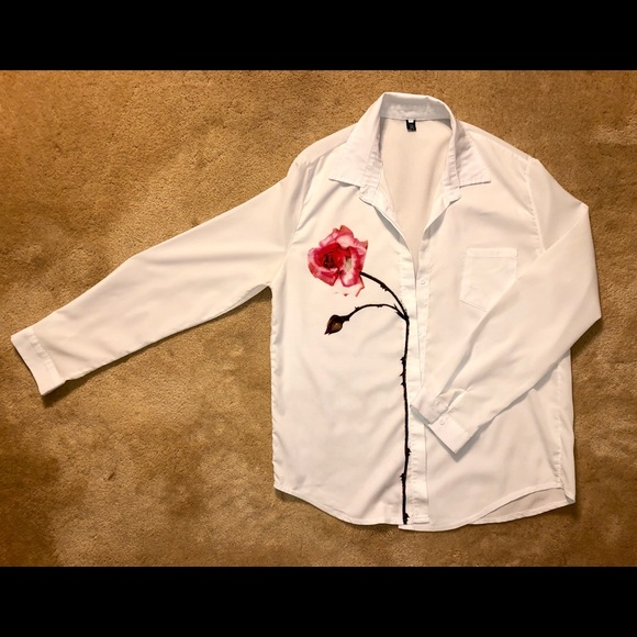 Tops - White Button-down With Red Rose